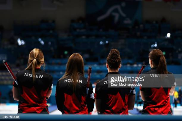 Rachel Homan, Emma Miskew, Joanne Courtney and of Canada compete during the Women Curling round robin session 7 on day nine of the PyeongChang 2018...