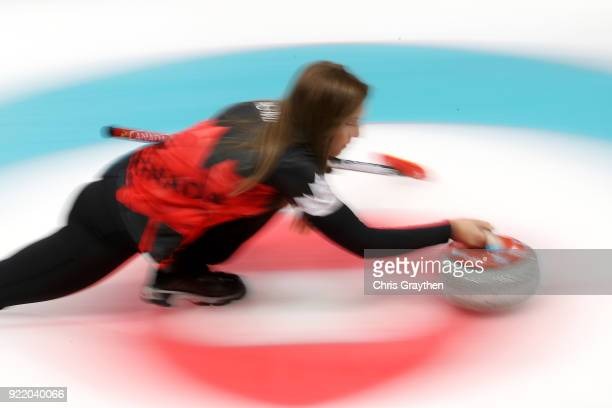 Rachel Homan of Canada competes against Great Britian during the Women's Round Robin Session 11 at Gangneung Curling Centre on February 21 2018 in...