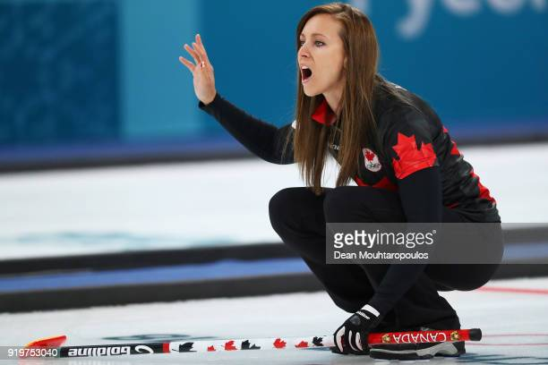 Rachel Homan of Canada competes during the Women Curling round robin session 7 on day nine of the PyeongChang 2018 Winter Olympic Games at Gangneung...
