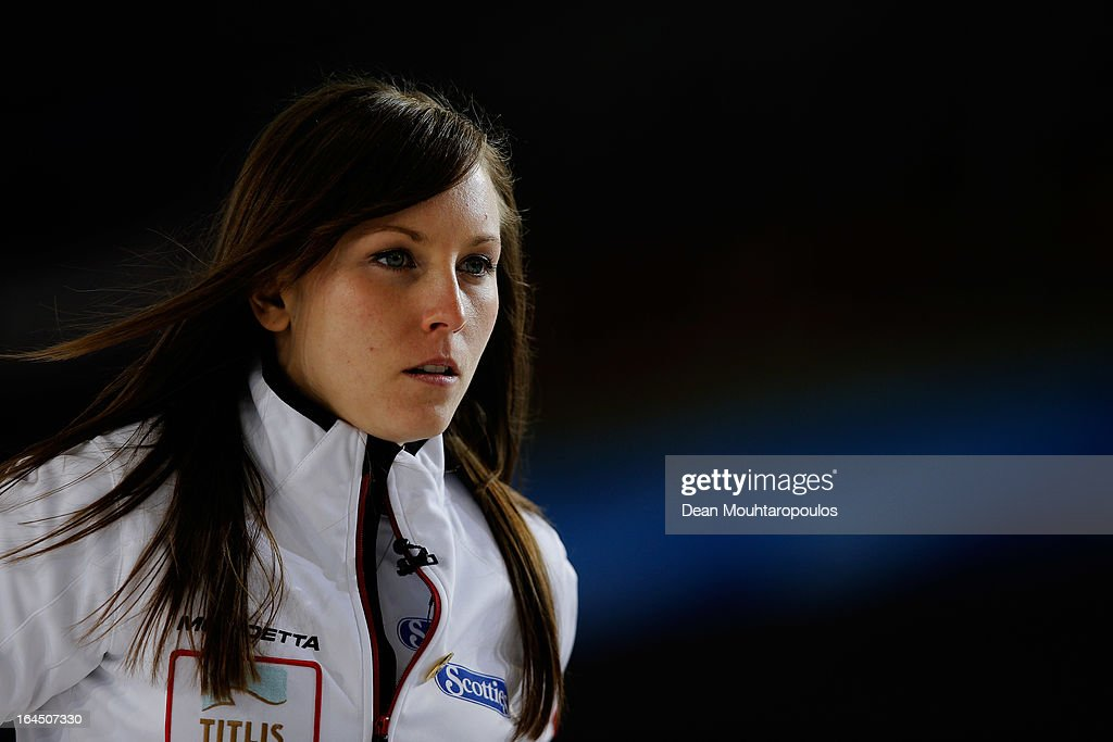 Rachel Homan of Canada looks on in the Bronze medal match between USA and Canada on Day 9 of the Titlis Glacier Mountain World Women's Curling Championship at the Volvo Sports Centre on March 24, 2013 in Riga, Latvia.