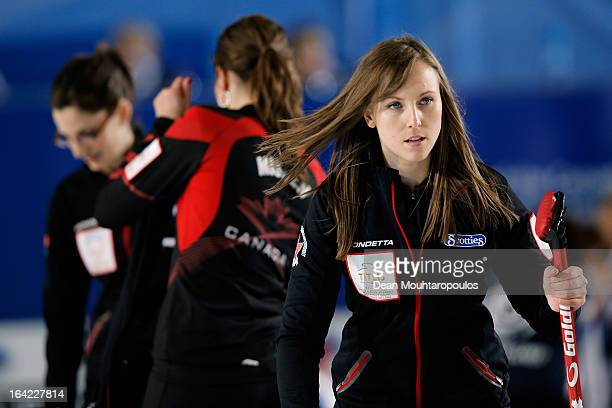 Rachel Homan of Canada looks on in the match between Japan and Canada on Day 6 of the Titlis Glacier Mountain World Women's Curling Championship at...