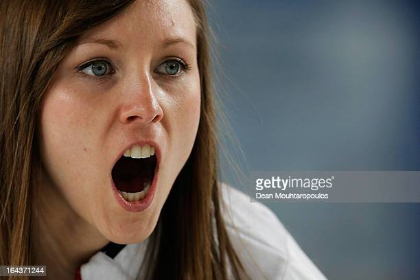 Rachel Homan of Canada screams instructions to team mates during the 3rd and 4th PlayOff between USA and Canada on Day 8 of the Titlis Glacier...