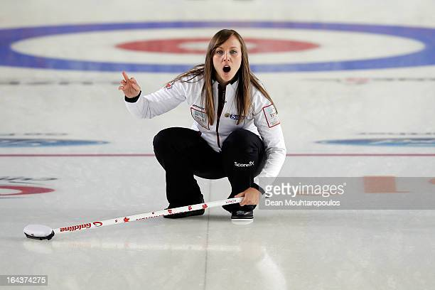 Rachel Homan of Canada screams instructions to team mates during the 3rd and 4th PlayOff match between USA and Canada on Day 8 of the Titlis Glacier...
