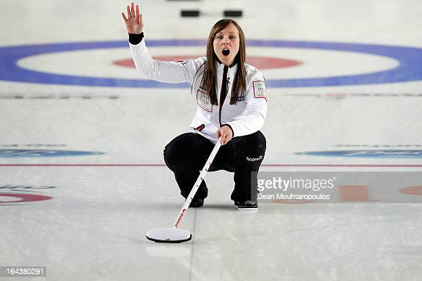 Rachel Homan of Canada screams instructions to team mates during the Semi Final match between Scotland and Canada on Day 8 of the Titlis Glacier...