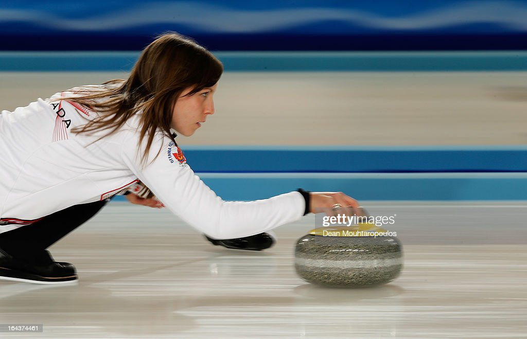 Rachel Homan of Canada throws a stone during the 3rd and 4th Play-Off match between USA and Canada on Day 8 of the Titlis Glacier Mountain World Women's Curling Championship at the Volvo Sports Centre on March 23, 2013 in Riga, Latvia.