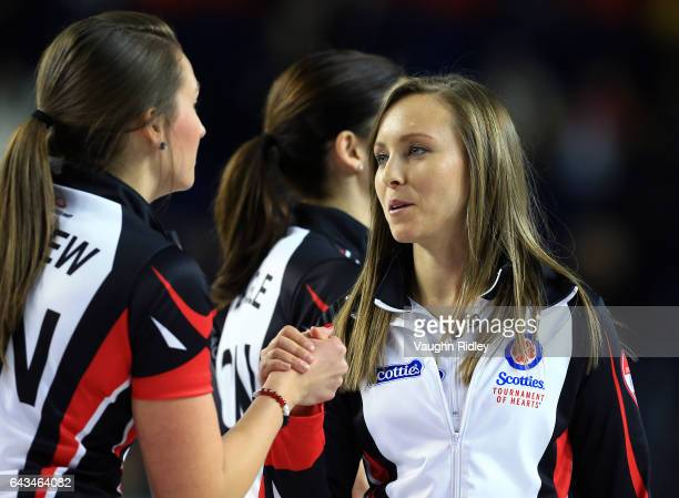 Rachel Homan of Ontario celebrates victory over Canada with teammate Emma Miskew in a draw one match during the 2017 Scotties Tournament of Hearts at...