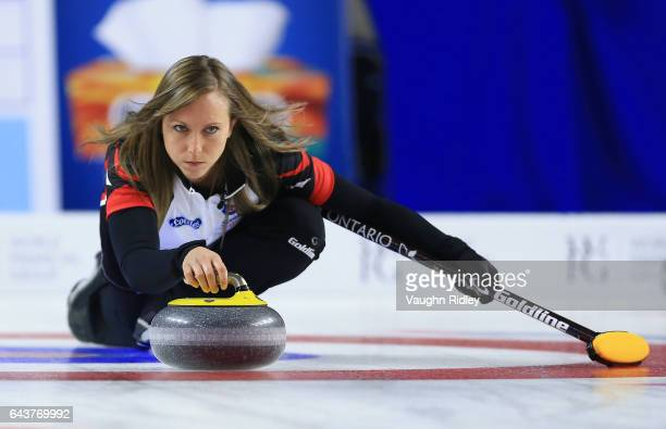 Rachel Homan of Ontario delivers a stone in a draw eleven match against Newfoundland Labrador during the 2017 Scotties Tournament of Hearts at the...
