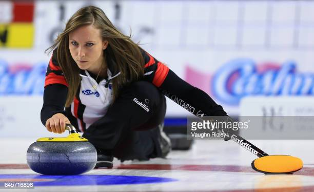 Rachel Homan of Ontario delivers a stone in the Gold Medal match against Manitoba during the 2017 Scotties Tournament of Hearts at the Meridian...