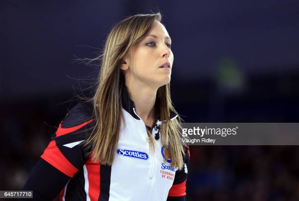 Rachel Homan of Ontario looks on in the Gold Medal match against Manitoba during the 2017 Scotties Tournament of Hearts at the Meridian Centre on...