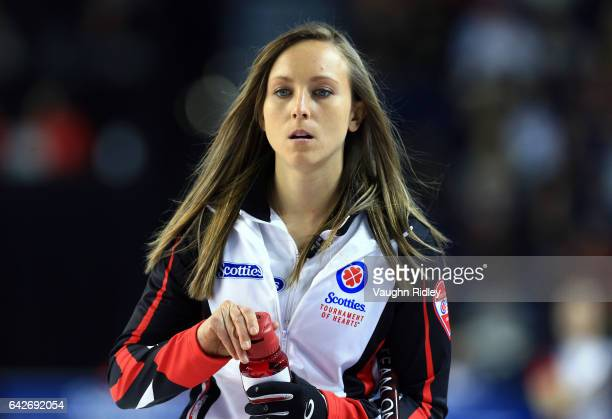 Rachel Homan of Ontario prepares to start her draw one match against Canada during the 2017 Scotties Tournament of Hearts at the Meridian Centre on...