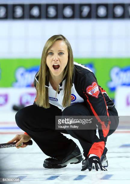 Rachel Homan of Ontario reacts after a shot in a draw one match against Canada during the 2017 Scotties Tournament of Hearts at the Meridian Centre...