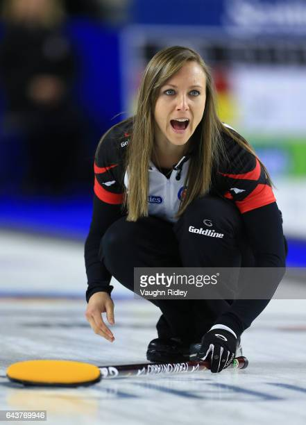 Rachel Homan of Ontario reacts after delivering a stone in a draw eleven match against Newfoundland Labrador during the 2017 Scotties Tournament of...