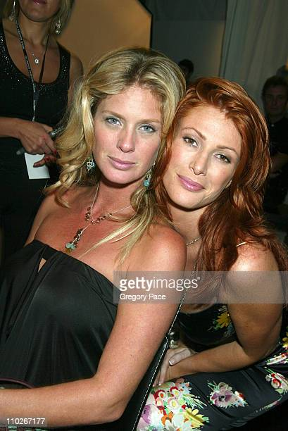 Rachel Hunter and Angie Everhart during Olympus Fashion Week Spring 2006 Fashion For Relief Backstage and Front Row at Bryant Park in New York City...