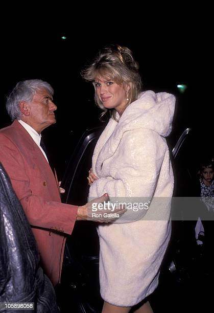 Rachel Hunter and guest during Rod Stewart Concert After Party February 15 1992 at Cicada Restaurant in West Hollywood California United States