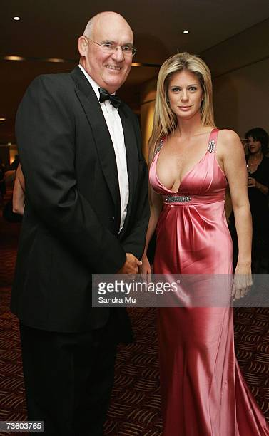 Rachel Hunter and her agent Former All Black Andy Haden arrive at the Pearl Of The Pacific Charity Gala Dinner at the Hyatt Regency on March 16 2007...