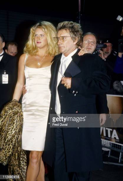 Rachel Hunter and Rod Stewart during Evita UK Premiere at Leicester Square