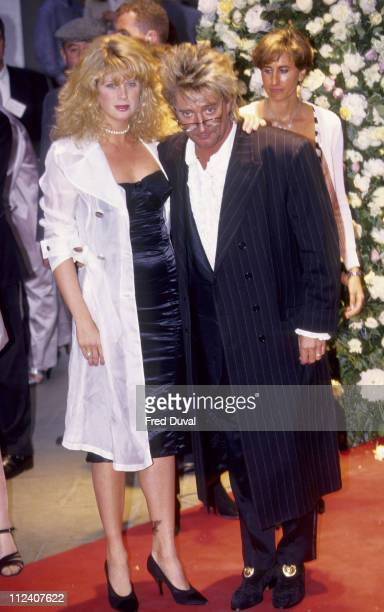 Rachel Hunter and Rod Stewart during Versace Party Arrivals in London Great Britain