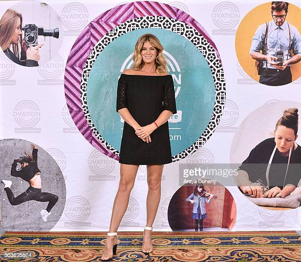 Rachel Hunter attends the Ovation 2016 Winter TCA Tour introducing three series featuring Rachel Hunter Reza Aslan Norman Lear And Yannick Bisson at...