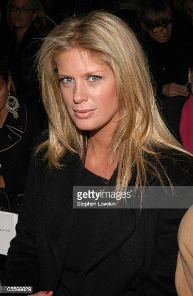 Rachel Hunter during Olympus Fashion Week Fall 2005 Richard Tyler Front Row at Bryant Park Tents in New York City NY United States