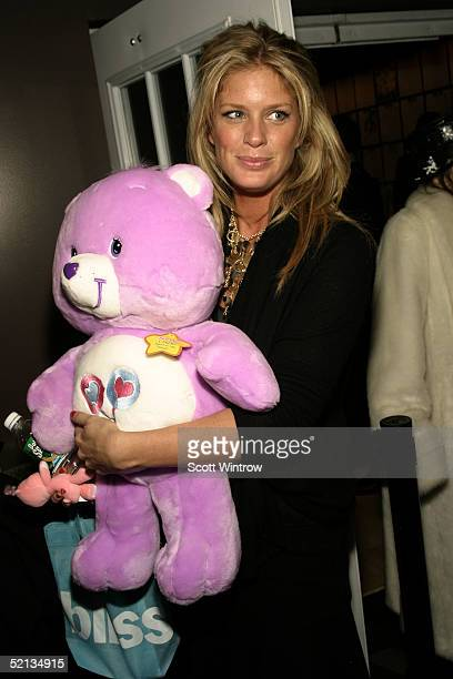 Rachel Hunter is seen backstage at the W lounge during the Olympus Fashion Week at Bryant Park February 4 2005 in New York City