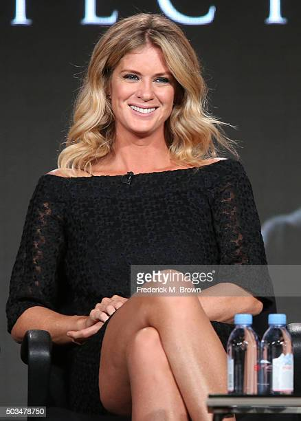 Rachel Hunter looks on during Ovation's 'The Artful Detective'' panel as part of This is Cable 2016 TCA Press Tour at Langham Hotel on January 5 2016...