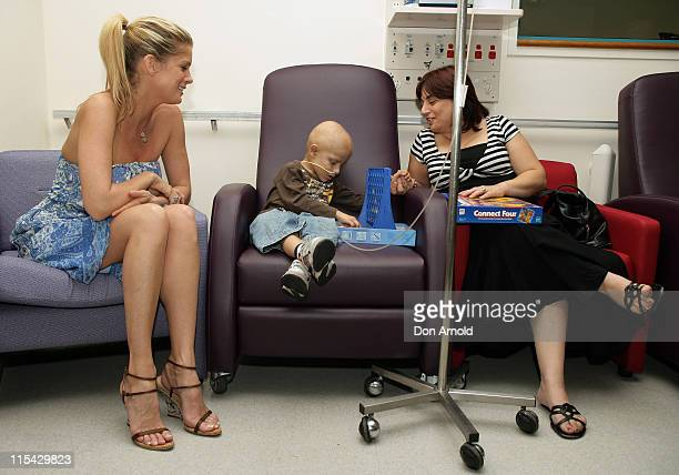 Rachel Hunter meets Alexander and Grace Rizzo during Rachel Hunter Visits Westmead Children's Hospital in Sydney March 21 2007 at Westmead Children's...