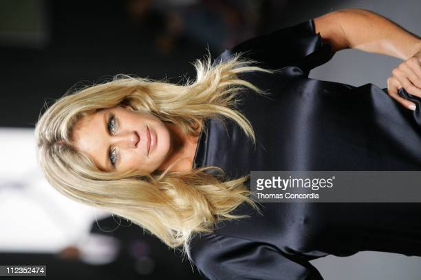 Rachel Hunter models during the 'Fashion For Relief' charity runway event in Bryant Park New York City on September 16 2005 The celebrity fashion...