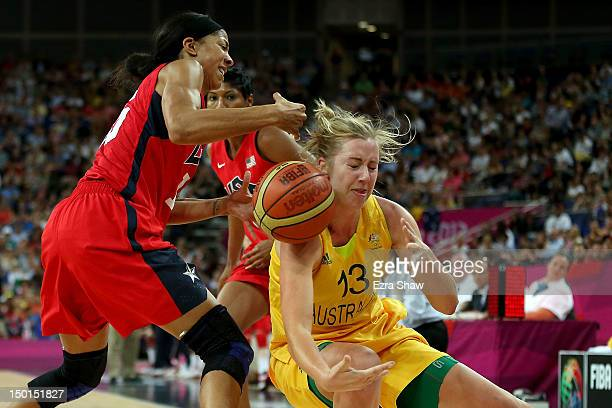 Rachel Jarry of Australia attempts to control the ball against Candace Parker of United States during the Women's Basketball semifinal on Day 13 of...