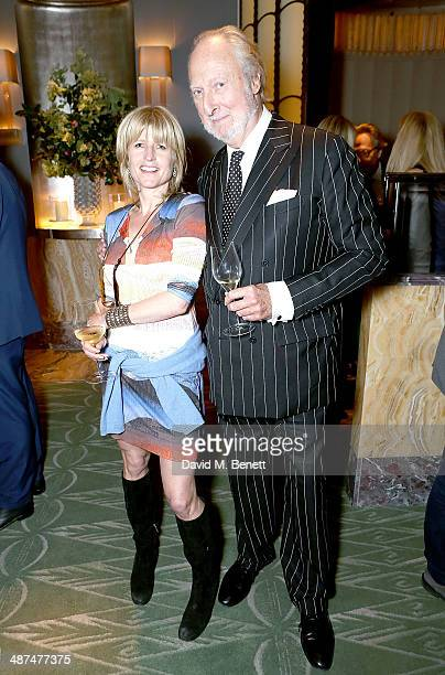 Rachel Johnson and Ed Victor attend the launch of Town Country magazine at Fera at Claridge's Hotel on April 30 2014 in London England