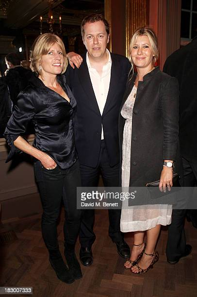 Rachel Johnson Tom Parker Bowles and Sara Parker Bowles attend the launch of Geordie Greig's new book Breakfast With Lucian on October 3 2013 in...
