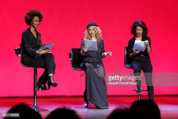 Rachel Khan Christelle Chollet and Sophia Aram perform in Les Monologues du Vagin The Vagina Monologues during Paroles Citoyennes 10 shows to wonder...
