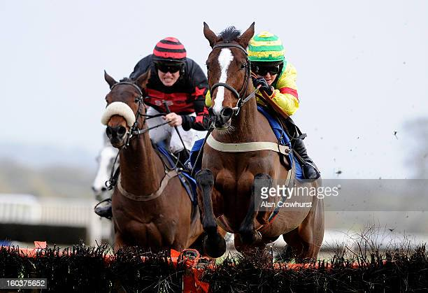 Rachel King riding Drussell win The AJA Amateur Riders' Handicap Hurdle Race at Ludlow racecourse on January 30 2013 in Ludlow England