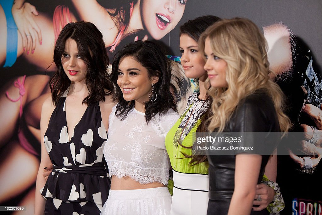 Rachel Korine, Vanessa Hudgens, Selena Gomez and Ashley Benson attend 'Springbreakers' Photocall at Villamagna Hotel on February 21, 2013 in Madrid, Spain.