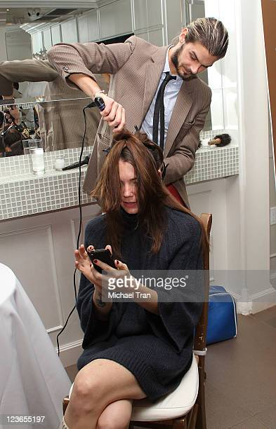"""Rachel Krupa gets her hair worked on at the JM Blowdry booth at KIIS FM's 7th Annual """"Pick Your Purse Party"""" held at Il Cielo on November 17, 2010 in..."""