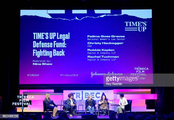 Rachel L Tuchman Fatima Goss Graves Robbie Kaplan Christy Haubegger and Nina Shaw speak onstage at 'Time's Up' during the 2018 Tribeca Film Festival...