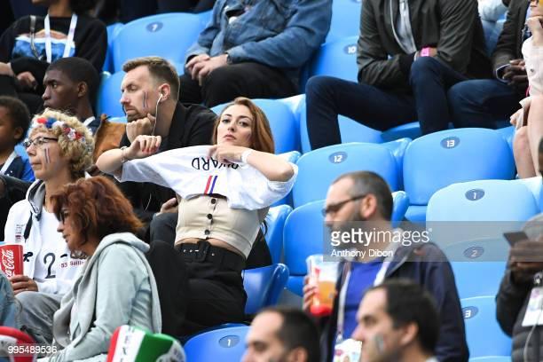 Rachel Legrain Trapani girlfriend of Benjamin Pavard of France during the Semi Final FIFA World Cup match between France and Belgium at Krestovsky...