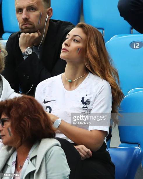 Rachel Legrain Trapani girlfriend of Benjamin Pavard of France is seen during the 2018 FIFA World Cup Russia Semi Final match between Belgium and...