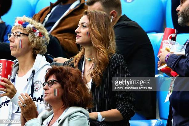 Rachel Legrain Trapani girlfriend of Benjamin Pavard of France attends the 2018 FIFA World Cup Russia Semi Final match between Belgium and France at...
