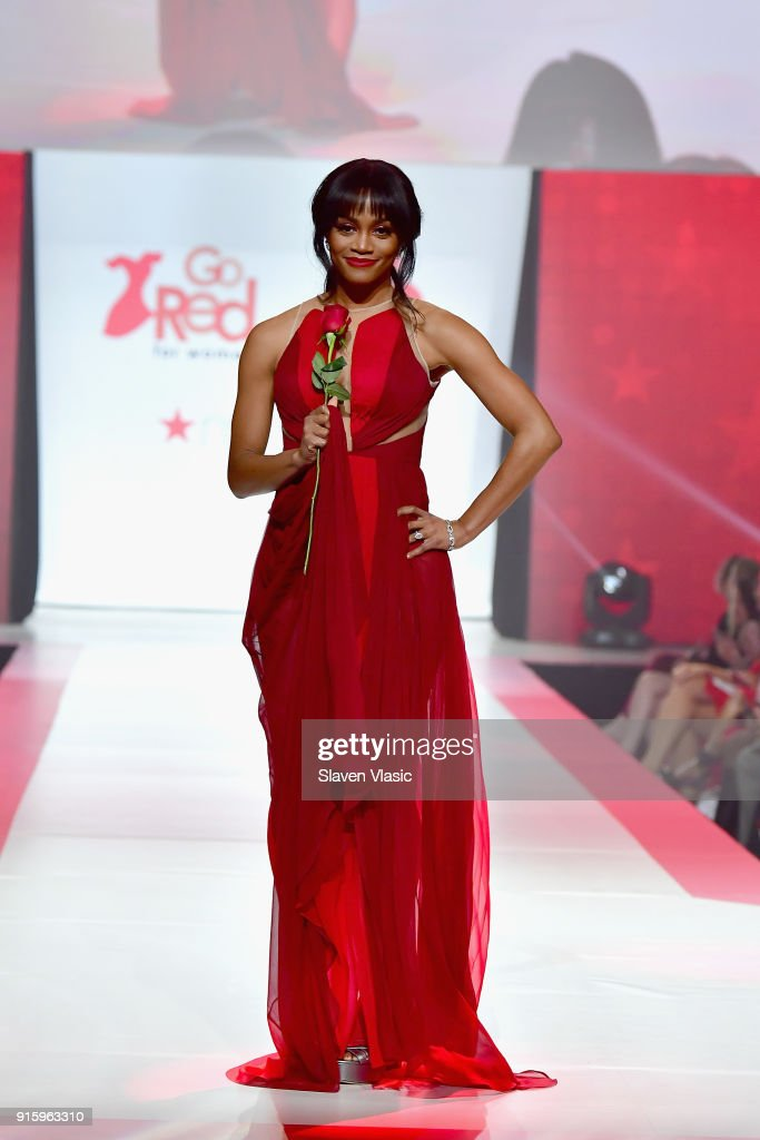 Rachel Lindsay onstage at the American Heart Association's Go Red For Women Red Dress Collection 2018 presented by Macy's at Hammerstein Ballroom on February 8, 2018 in New York City.