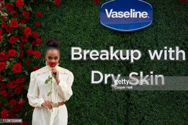 "Rachel Lindsay poses for a photo during the ""Breaking up with Dry Skin"" event presented by Vaseline at Sundown At Granada on March 4, 2019 in Dallas,..."