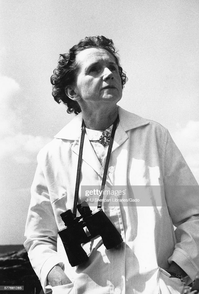 Rachel Louise Carson, Candid photograph, Outside with binoculars, c 55 years of age, 1961.