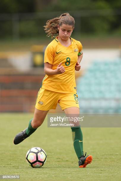 Rachel Lowe of Australia controls the ball during the International match between the Young Matildas and Thailand at Leichhardt Oval on March 16 2018...