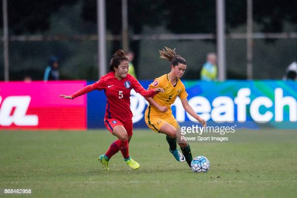 Rachel Lowe of Australia in action against Seo Jinju of South Korea during their AFC U19 Women's Championship 2017 Group Stage B match between South...