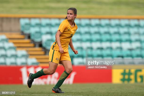 Rachel Lowe of Australia scores a goal during the International match between the Young Matildas and Thailand at Leichhardt Oval on March 16 2018 in...