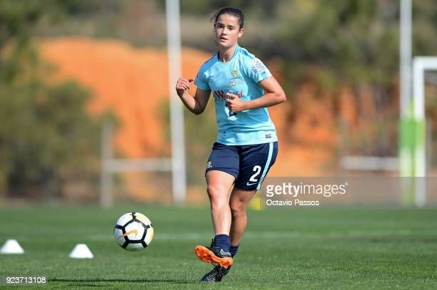Rachel Lowe of the Matildas controls the ball during a Matildas training session on February 24 2018 in Faro Portugal