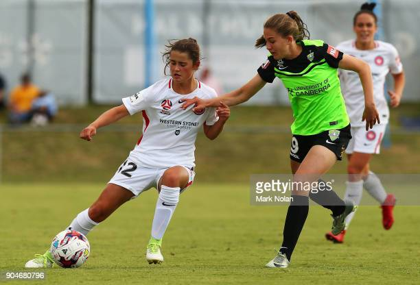 Rachel Lowe of the Wanderers in action during the round 11 WLeague match between Canberra United and the Western Sydney Wanderers at McKellar Park on...