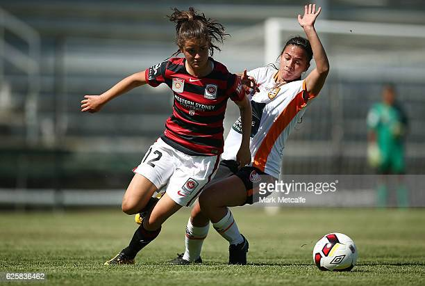Rachel Lowe of the Wanderers in action during the round four WLeague match between the Western Sydney Wanderers and the Brisbane Roar at Marconi...