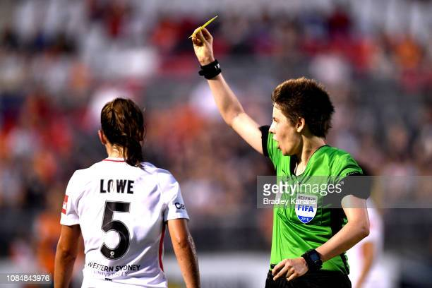 Rachel Lowe of the Wanderers is given a yellow card from referee Casey Reibelt during the round eight WLeague match between the Brisbane Roar and the...