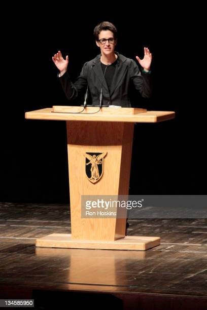 Rachel Maddow discusses the headlines of the day in Emens Auditorium at Ball State University David Letterman's alma mater on December 2 2011 in...