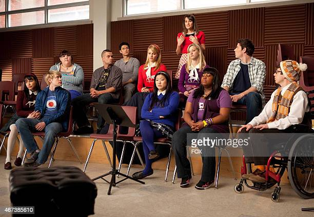 """Rachel makes a suggestion to the glee club in the """"Comeback"""" episode of GLEE airing Tuesday, Feb. 15 on FOX. Pictured bottom row L-R: Naya Rivera,..."""